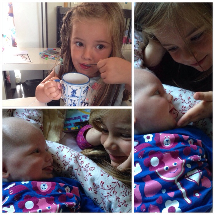 Eva en Liza beginnen de dag standaard met flink veel geknuffel. Zo leuk dat ook Liza daar nu van kan genieten. Eva vond zaterdagochtend dat ze mijn koffie wel mocht opdrinken. En bedankt dame!