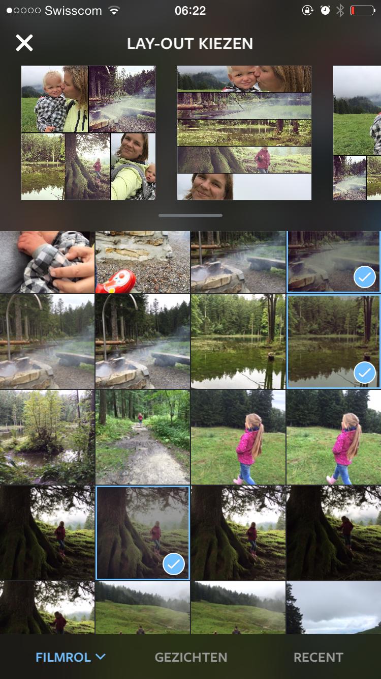 In de app collage kies je eenvoudig, zoals in Instagram, de foto's die je aan je collage wilt toevoegen