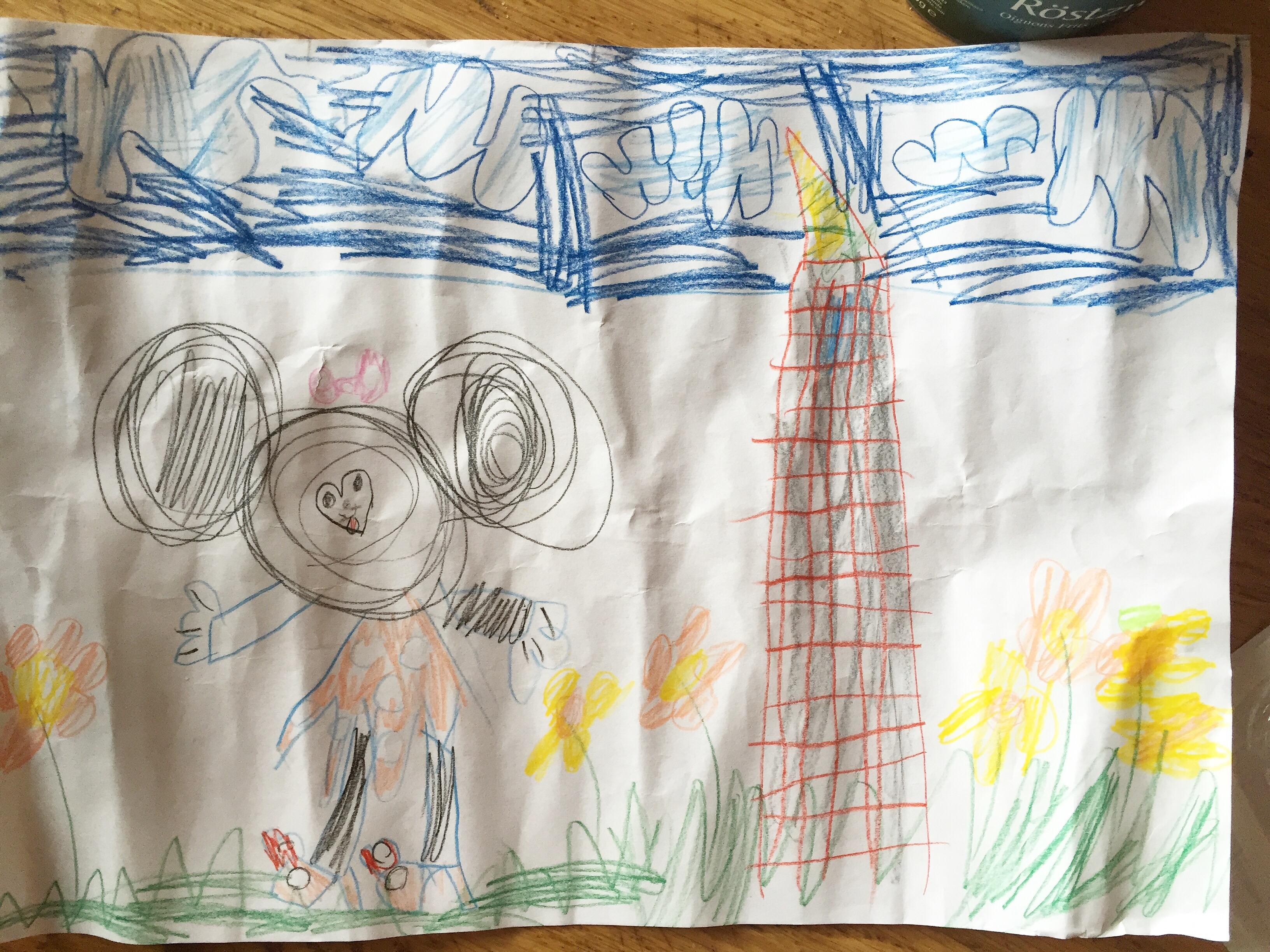 Eva tekende op school 'Minnie Mouse op bezoek bij Rapunzel'