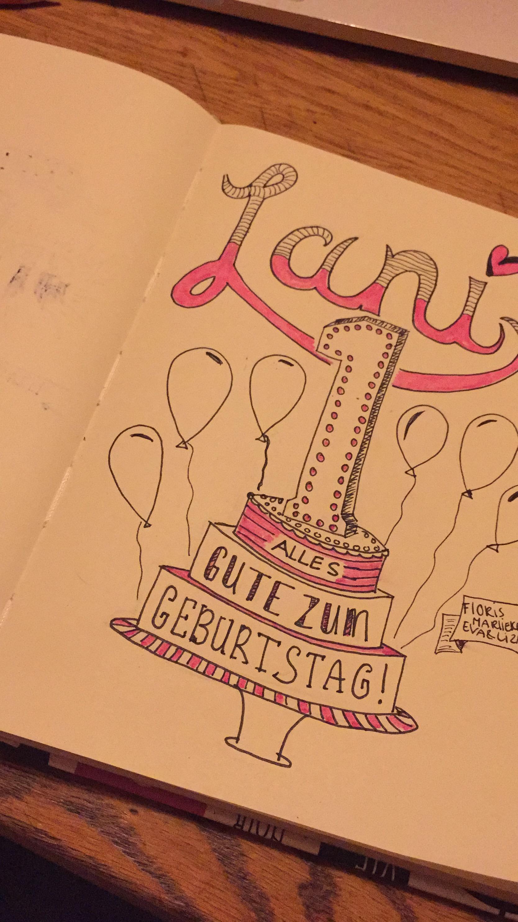Omdat ik lekker bezig tekende ik ook maar een verjaardagskaart voor mij buurmeisje