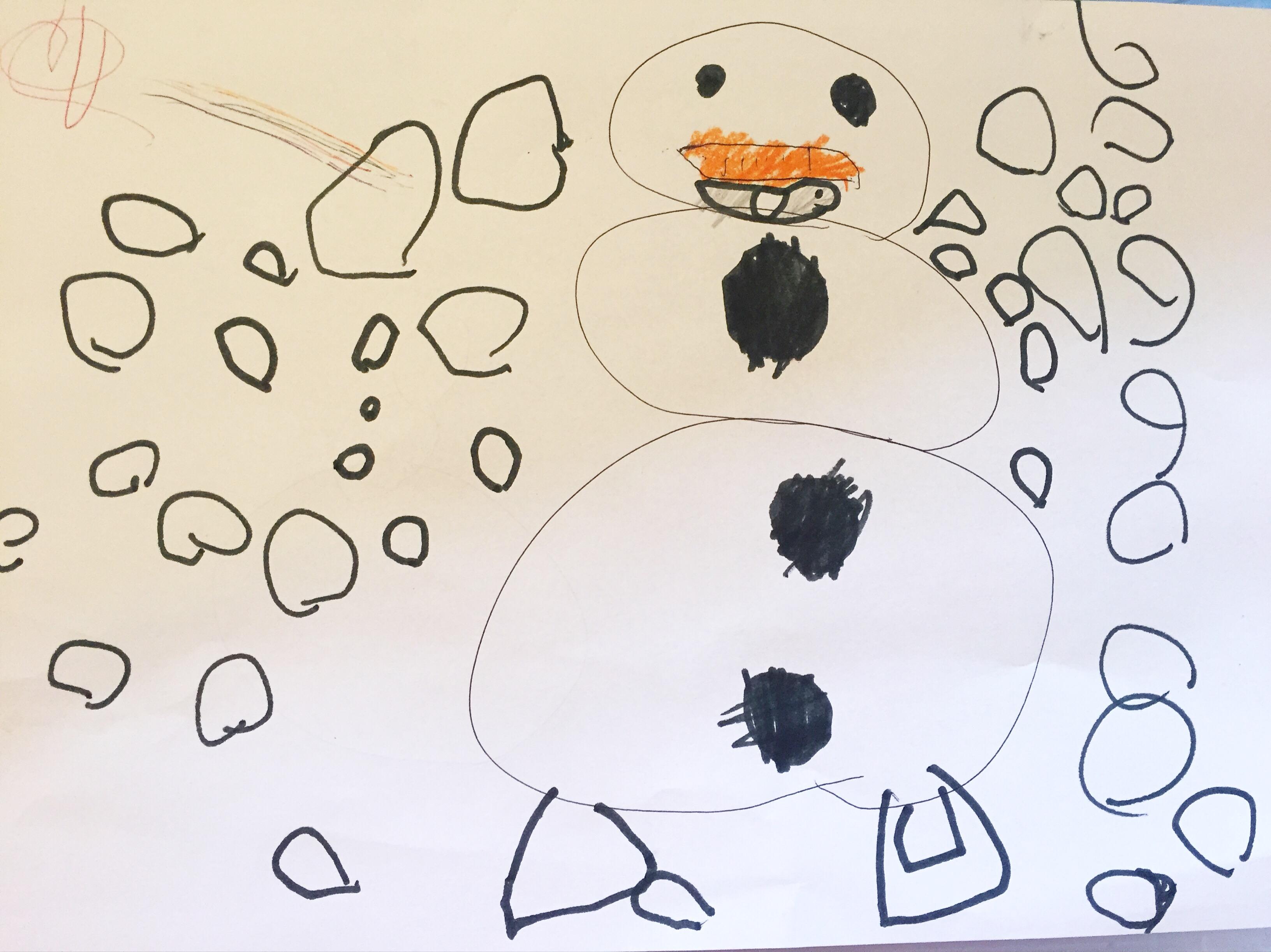 Eva is op maandag nog thuis. Even bijkomen van het bezoek van opa en oma, bijslapen en aanrommelen. Ik vind deze mooie tekening van haar.