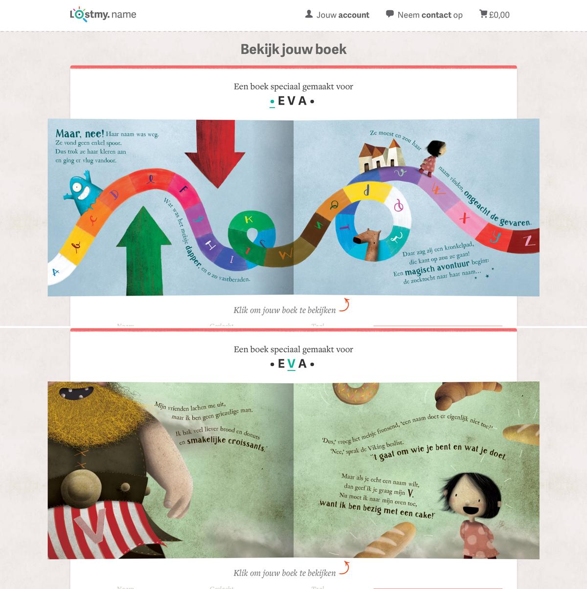 Twee pagina's uit het gepersonaliseerde kinderboek va LostMyName - Wat een pech mijn naam is weg