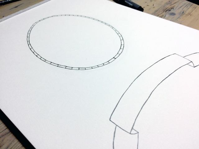 De meeste elementen worden los van elkaar getekend. Eerst in potlood, dan met inkt.