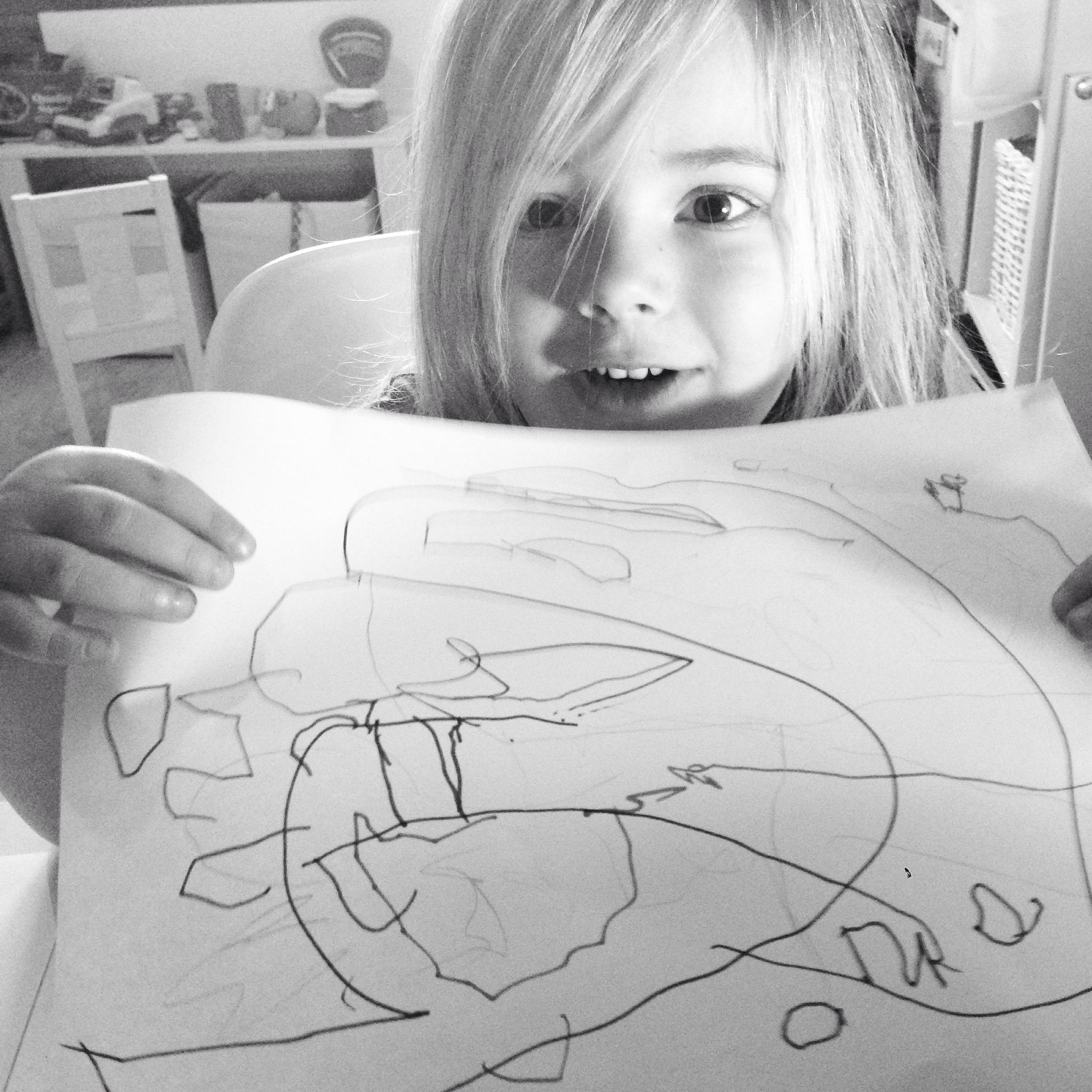 Eva schreef zelfs oma op haar tekening.