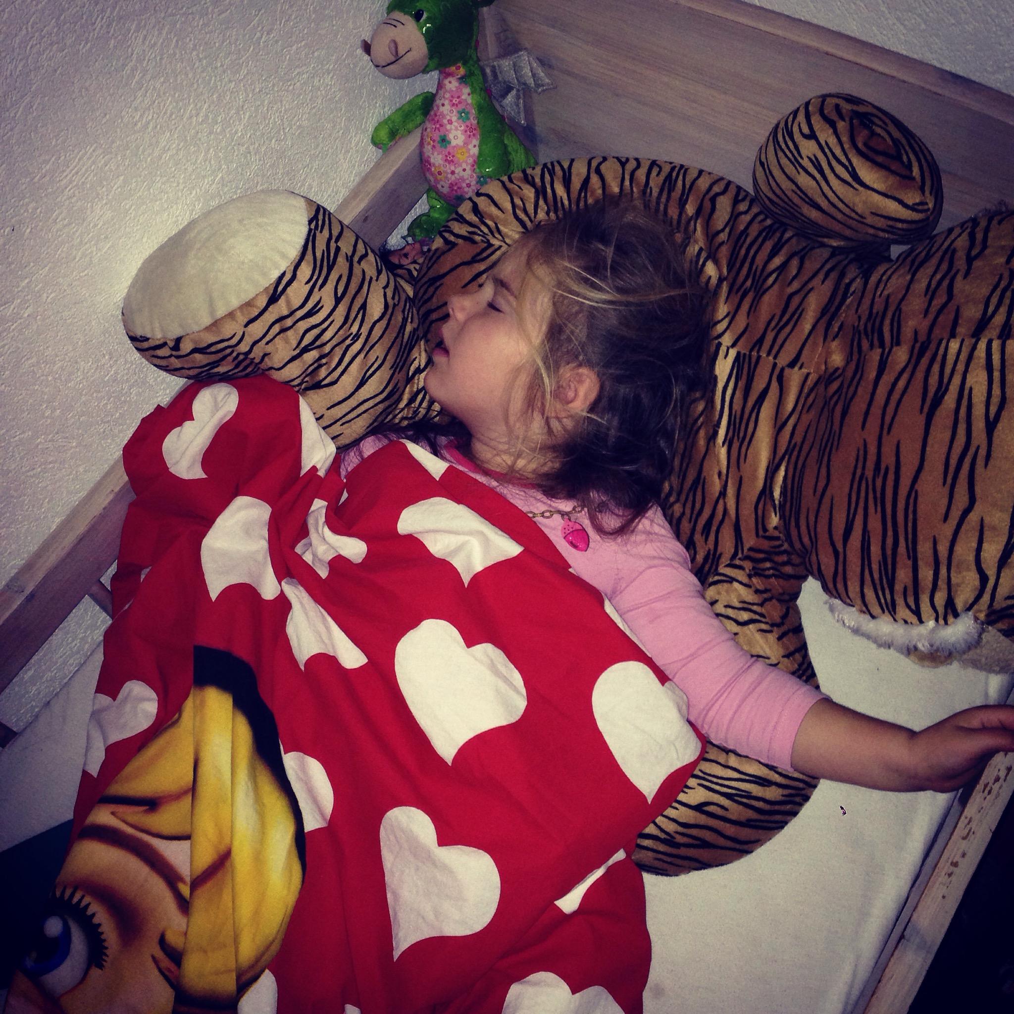 En zo sliep Eva 's nachts. Boven op haar beer of is het nu een tijger...