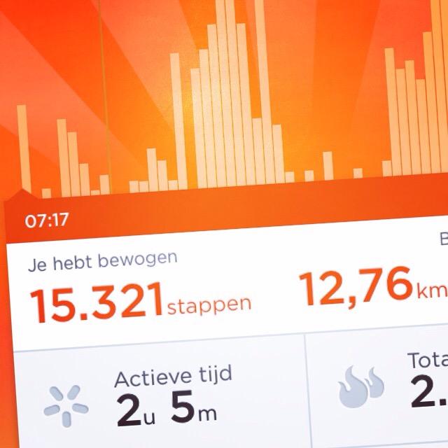 Na twee keer 1,5 km wandelen en 3,5 km rennen, waren mijn stats op de Jawbone wel erg tof!